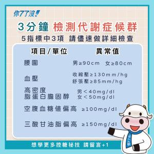 【3分鐘檢測 ,你是否是代謝症候群-糖尿病候選人】